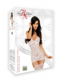 Favolosa chemise bianca a reggicalze con tulle e pizzo - lingerie sexy Beautynight ref BN10421