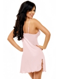 A charming, sensual short dressing gown made of modal - a modern, friendly body material in a shade of light pink. Finished with delicate lace. Thongs from the same material included. Set in the elegant packaging with the picture presenting the product, m