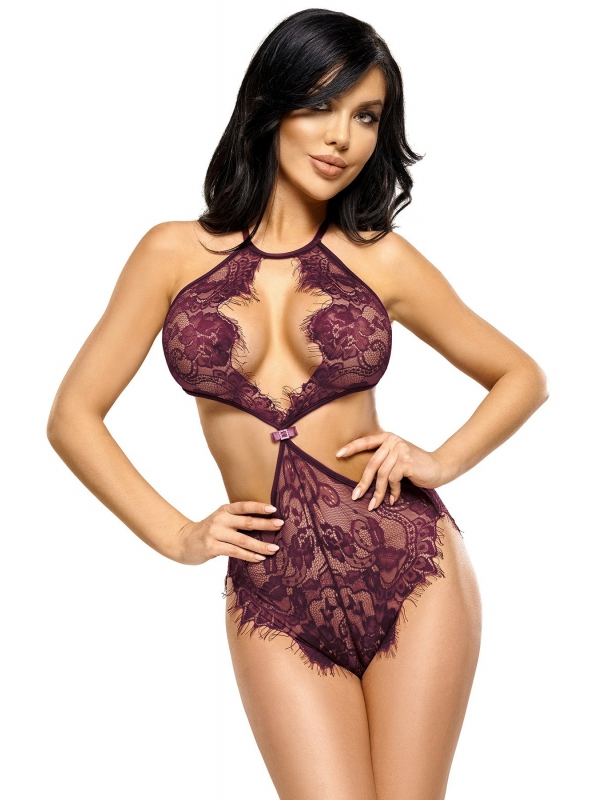 Stuzzicante body purple in pizzo floreale - lingerie sexy Beautynight ref BN6570